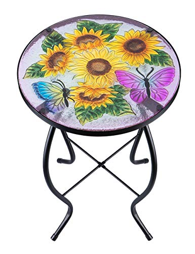 VCUTEKA Patio Side Table Plant Stands Outdoor Accent Table Small Mosaic Table Glass Top Round Balcony Coffee Table