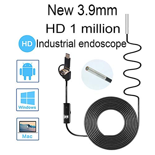 HLKYB Wireless-Endoskope, WLAN-Inspektionskamera Autofokus-Endoskop-Kamera 5,0 MP 1944P HD wasserdichte Schlange-Kamera 2600mAh Akku für Smartphone, Tablet (16.4FT)