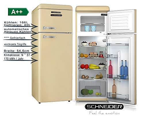 Schneider Retro Kühl-Gefrierkombination 206Liter A++ 55cm Breit SDD 208 Kühlschrank automatisches Abtauen (Creme matt)