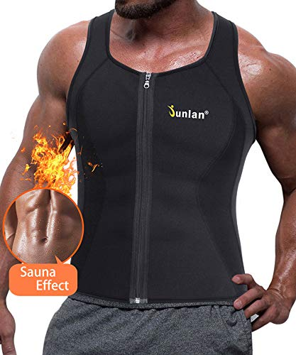 Men Sweat Waist Trainer Tank Top Vest for Workout Neoprene Workout Shirt Sauna Body Shaper Fitness Gym Corset Zipper (XXXXL, Black Sauna Tank Top)