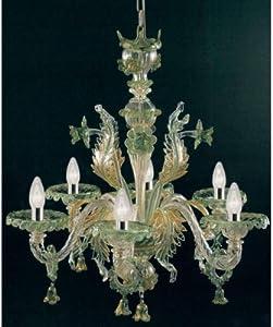 Pegaso Lámpara de araña de cristal de Murano hecha a mano, color verde y dorado