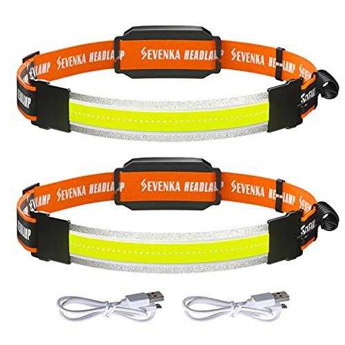 Led Wide-Beam Headlamp, SEVENKA 2 Pack Rechargeable Headlamp Flashlight, 210° Illumination 500 Lumens Lightweight COB Headlight with Red Lights, 3 Light Modes Head Lamp for Fishing, Running, Camping