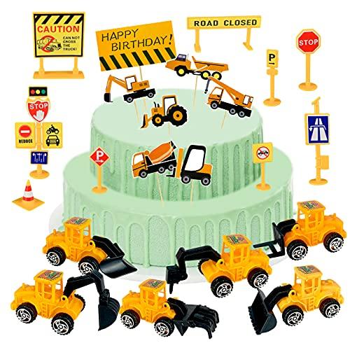 Bagger Kuchen Dekoration Baustellenfahrzeuge Kinder Spielzeug Bagger Verkehrsschilder Spielzeug Sticker Bagger Baufahrzeuge Set Cake Decoration Bagger Kinder Kuchendeko Geburtstag Junge, 22Pcs [Gelb]