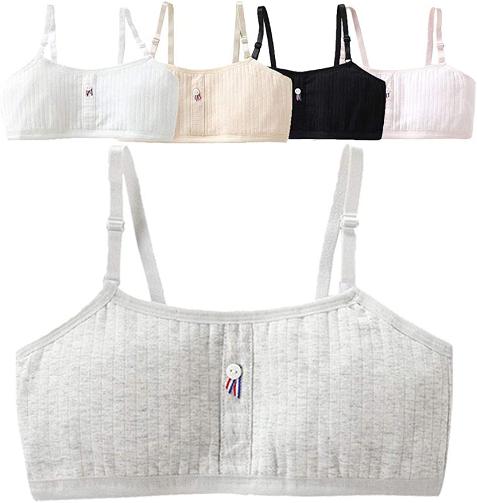 VELWINGS Girls Training Bra Cotton Breathable Cami Crop Bralette with Adjustable Straps-3 Pack