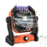 Camping Fan for Tents with LED Lantern, Portable Tent Fan, USB Rechargable Outdoor Fan, 270° Head Rotation and Quiet Battery Operated Powered USB Desk Fan for Picnic, Barbecue, Fishing, Travel (3.7V/ 7800mAh Li-ion Recharable)