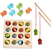 Wooden Fishing Game Toy for children Fine Motor Skill Toy  Number Color Sorting Magnetic Puzzle Preschool Board Games for 3 4 5Year Old Girl Boy Kids Birthday Learning Education Math with Magnet Poles