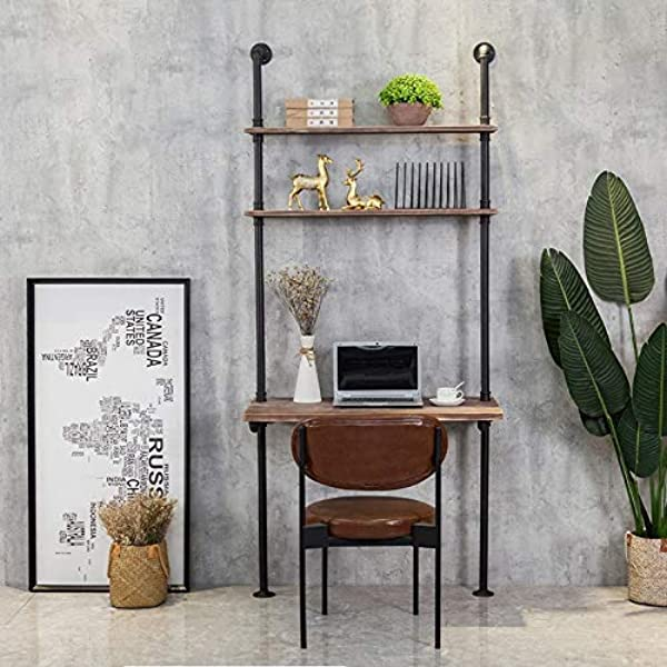 Industrial Style Laptop Desk Solid Wood Computer Desk Storage Table With Shelves Wall Shelf Bookshelf Floating Shelves For Home Office