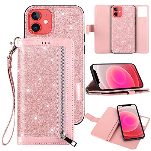 Petocase Compatible with iPhone 12 Mini Wallet Case 5.4 Inch Released in 2020,Luxury Bling Classy Leather Folio Flip Wristlet Shockproof Protective Credit Card Slots Holder Carrying Cover -Rose Gold