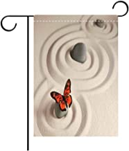 Custom Personalized Garden flag Outdoor flag Butterflies Zen Rock on the Sand Butterfly Serenity Life Cycle Nature Meditation Decor Decorative Deck, patio, Porch, Balcony Backyard, Garden or Lawn