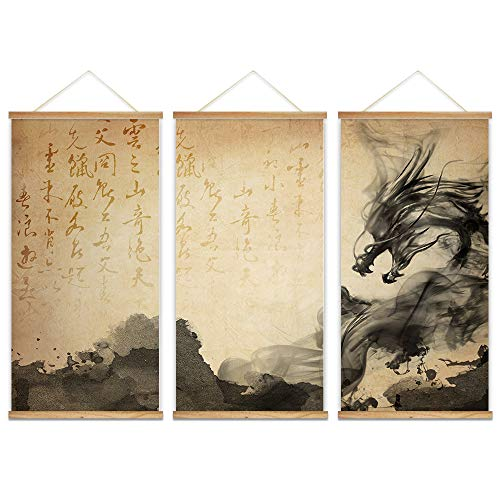 wall26 - 3 Panel Hanging Poster with Wood Frames - Ink Painting Style Chinese Dragon - Ready to Hang Decorative Wall Art - 18'x36' x 3 Panels