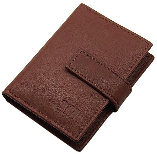 XL Cuero de Becerro Caja de la Tarjeta para un Total de 14 Tarjetas de credito (Marrón)