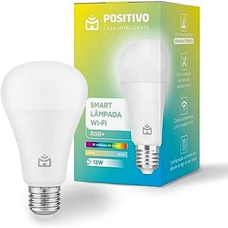 Smart Lâmpada Wi-Fi RGB+ Positivo Casa Inteligente, branco quente e frio, cores mais vibrantes, 1.000 Lúmens, RGB, LED 12W...