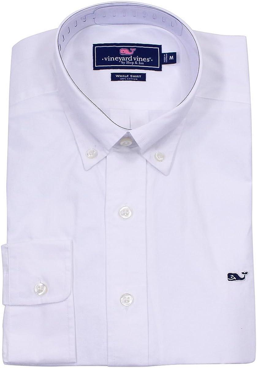 Viñedo de viñedo para hombre algodón ballena Camisa Solid Oxford de plumón de botón de tapa color blanco hombre