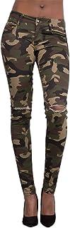 LAEMILIA Damen Camouflage Skinnyhose Legging mit Löchern Slim Fit Military Army Hosen Streetwear