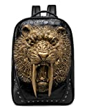 3D Animal Head Backpack, Studded PU Leather Cool Laptop Backpack College Bookbag (Sabertooth-Gold)