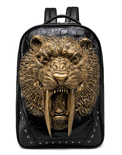 3D Print Animal Studded Backpack, PU Leather Cool Backpack Bookbag (Sabertooth-Gold)