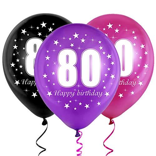 Cumpleaños Globos 80, Decoración de cumpleaños 80, Feliz cumpleaños Decoración Globos 80, Globos Numeros 80 para Fiestas, Party Cumpleaños Latex Globos para Niñas Niño