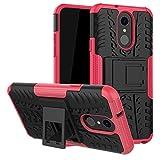 LFDZ LG Q7 Tasche, Hülle Abdeckung Cover schutzhülle Tough Strong Rugged Shock Proof Heavy Duty Hülle Für LG Q7 Smartphone (mit 4in1 Geschenk verpackt),Rosa