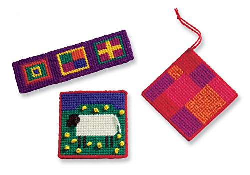 Harrisville Designs First Needlepoint Kit with Three canvases, Weaving Crafts for Kids Age 7 and up, Multicolor