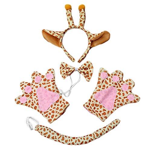 Vococal® Easter Costume Bandeau d'oreille de Girafe + Cravate + Queue + Gants 4 Pièces Set pour Déguisements Cosplay Party Costume de No?l(Girafe-Adult)