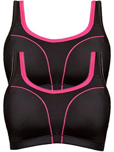 Susa 2er Sparpack Sport BH 7897 = 95-E in schwarz-pink-schwarz-pink