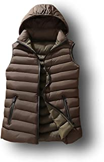 Men's Slim Fit Casual Puffer Vest Hooded Zipper Quilted Jacket Sleeveless Cotton Padded Coat