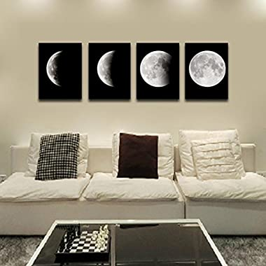 Modern Art Oil Painting Wall Sticker,Fheaven 4PCS Framed Modern Art Print on Canvas Home Wall Decor Poster Abstract The Moon