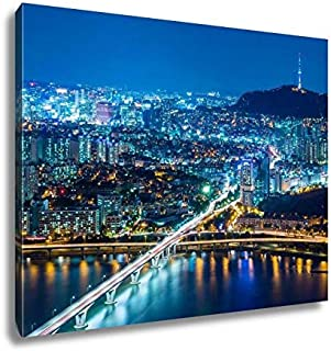 Ashley Canvas Seoul City at Night Wall Art Decoration Picture Painting Photo Photograph Poster Artworks, 20x25