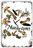 Berryi Arte de cocina Salvaje setas Romero Hostess Regalo Cocina Ducha Regalo de Estaño Cartel de Metal Estilo Vintage Arte de pared 20.3 cm x 30.5 cm