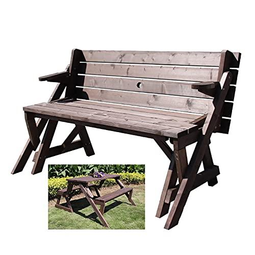 CCLLA Kombination aus Picknicktisch und Stuhl aus Holz im Freien, multifunktionale Gartenbänke mit Schirmlöchern, Korrosionsschutz-Sitzbank aus massivem Holz mit Rückenlehne, Parkbank, Terrassensi