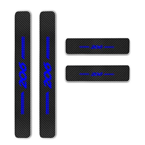 Pour 206 4 Piezas Fibra de Carbono Pegatinas Decoración estribos de coche Pedal Proteger Evitar el desgaste y los arañazos(206,Azul)