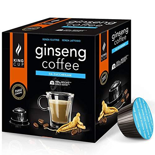 King Cup - 6 Confezioni da 10 Capsule di Ginseng da Zuccherare, 60 Capsule 100% Compatibili con Sistema Nescafè Dolce Gusto di Bevanda al Gusto di Ginseng, Senza Glutine e Senza Lattosio