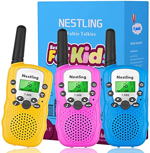 Nestling Walkie Talkies for Kids, 3Pack 22 Channels 2 Way Radio Toy with Flashlight and Backlit LCD, 3 Miles Range Kids Walkie Talkies for Boys Girls Indoor Outdoor Adventures, Camping, Hiking