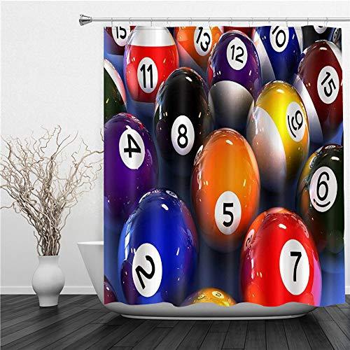 AIMILUX Duschvorhang 180x180cm,Billardkugeln und Zahlen,Duschvorhang Wasserabweisend-Duschvorhangringen 12 Shower Curtain mit
