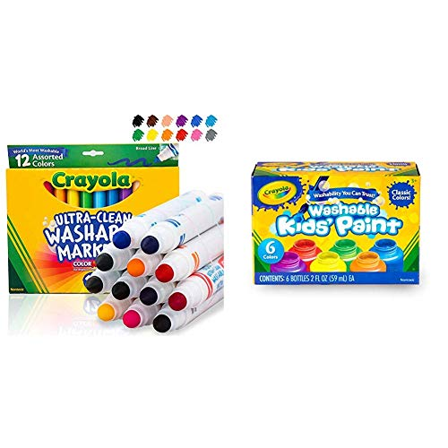 Crayola 12 Ct Ultra-Clean Washable Markers & Washable Kids Paint, Classic Colors, 6 Count, Painting Supplies, Gift