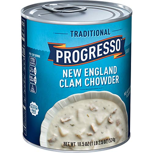 Progresso Traditional, New England Clam Chowder Soup, Gluten Free, 12 Cans, 18.5 oz