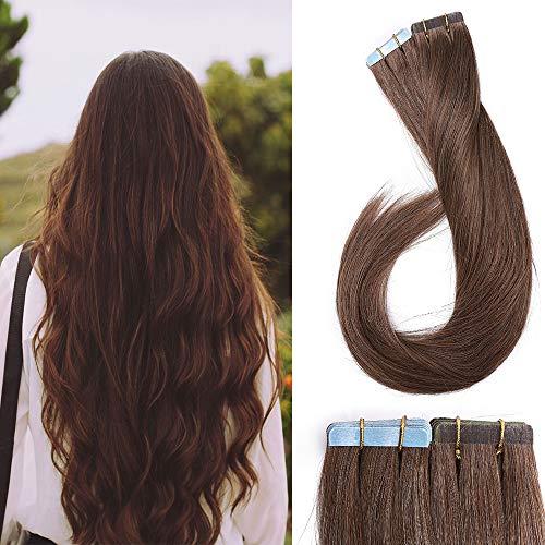 Tape Extensions Echthaar Klebe Haarverlängerung Glatt Weich Haarteil Günstig Human Hair 20 Stücke 50 Gramm 40cm 06# Hellbraun