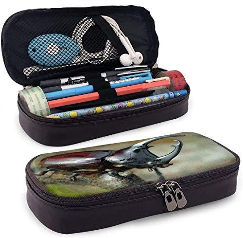 AOOEDM Beetle Estuche de cuero para lápices con portalápices, organizador de lápices, estuche de cosméticos, auriculares Bluetooth, útiles escolares, estuche con cremallera para bolígrafos, llaves d