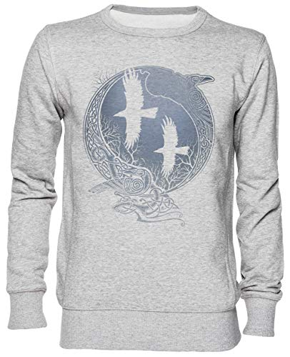 Odin Cuervos Gris Jersey Sudadera con Capucha Unisexo Hombre Mujer Tamaño L Grey Unisex Hoodie Size L