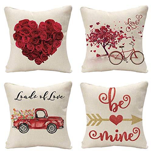 brightsen Juego de 4 fundas de almohada de San Valentín y cómodas y duraderas fundas de almohada de lino con texto en inglés 'Loads of Love'