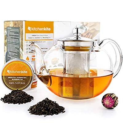 Glass Teapot with Infuser - Stovetop Teapot with Removable Stainless Steel Strainer, Microwave & Dishwasher Safe, Tea Pot with Blooming, Loose Leaf Tea Sampler. Tea Diffuser & Tea Maker