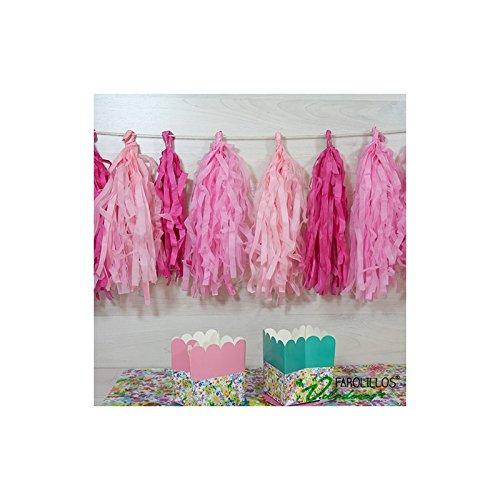farolillos voladores Guirnalda de Papel Flecos Rosa