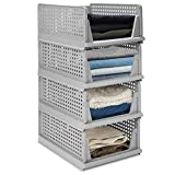 Hossejoy Juego de 4 organizadores de armario apilables, de plástico, plegables, para dormitorio, cocina, cuarto de baño, cajones extraíbles (gris)
