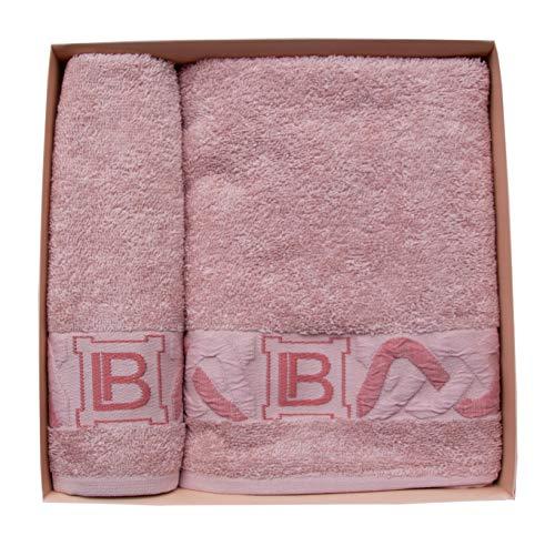 Laura Biagiotti - Juego de 2 toallas de rizo de 40 x 60 cm y toalla de 60 x 100 cm, 100% rizo puro algodón, en una maravillosa caja de regalo (Pasife Rosa)