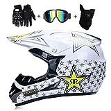 OUTLL Motocross Absturz DH Helm, Erwachsene Volles Gesicht Offroad Motorrad Strand Rennen Helm ATV Enduro Mountainbike All-Around Helm, mit Brille Handschuhe Maske, DOT Zertifiziert
