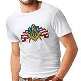 lepni.me T-Shirt pour Hommes Francs-maçons Slogan la Symbolique maconnique Signes Boussole carré (X-Large Blanc Multicolore)
