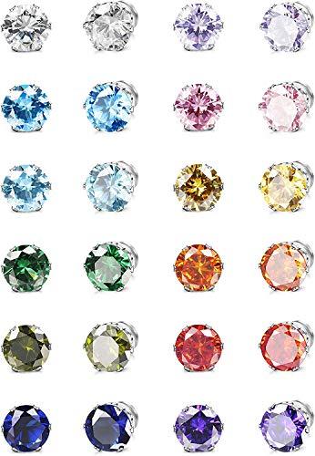 Adramata 12 Pares Pendientes de Botón Magnéticos para Hombres y Mujeres No Perforante Diamante de Imitación Pendientes de Imán Acero Inoxidable Clip Magnético en Juego de Aretes