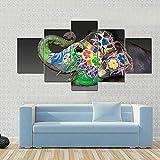 45Tdfc 5 Piezas Arte Pared Lienzo Un Elefante en Jaipur, India Animal Colorido HD Pintura Cartel ImpresióN- Wall Lona Paintings- Escena Sala Estar Oficina DecoracióN