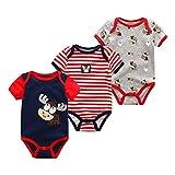 ベビー服 半袖 ロンパース 新生児服 半袖ボディースーツ 3枚セット 赤ちゃん服 出産祝い 0-12月 可愛い