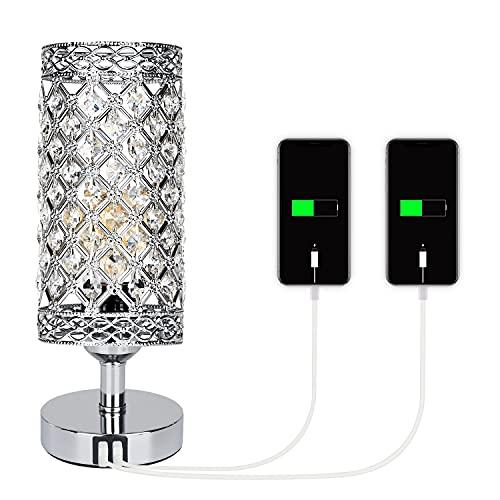 DAMORON Lámpara de cabecera de cristal, Lámpara de mesa de salón vintage con 2 puertos USB, Lámpara de cabecera regulable al tacto, Lámpara de mesa con regulación de 3 niveles (con bombilla)